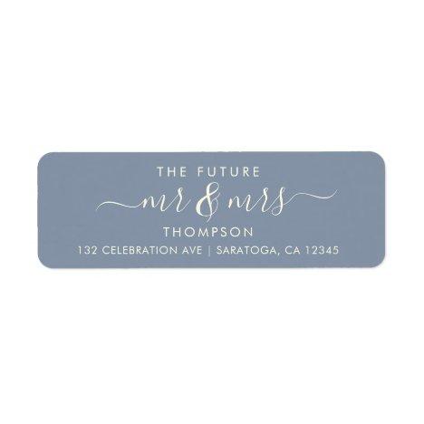 Dusty Blue Elegant Chic Future MR and MRS Address Label