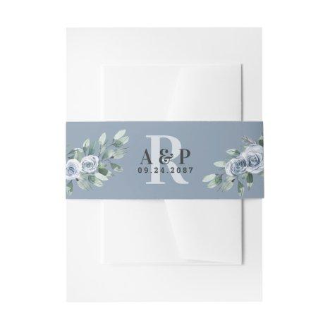 Dusty Blue Elegant Floral Boho Rose Rustic Wedding Invitation Belly Band