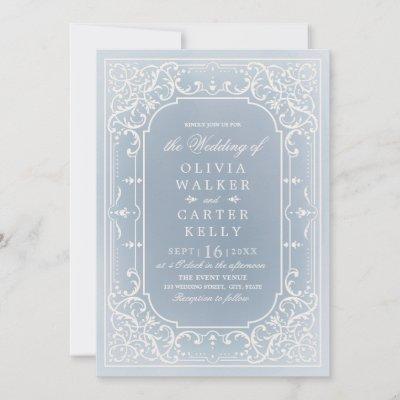 Dusty blue elegant ornate romantic vintage wedding invitation