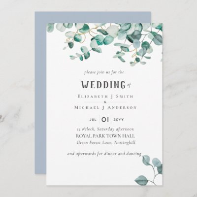 Dusty Blue Eucalyptus Greenery BUDGET WEDDING Invitation