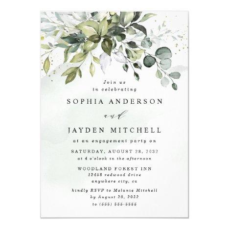 Dusty Blue Eucalyptus Greenery Engagement Party Invitation
