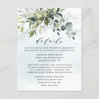 Dusty Blue Eucalyptus Greenery Succulent Wedding Enclosure Card