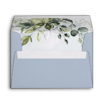 Dusty Blue Eucalyptus Greenery Succulent Wedding Envelope
