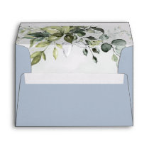 Dusty Blue Eucalyptus Greenery Succulent Wedding Envelope