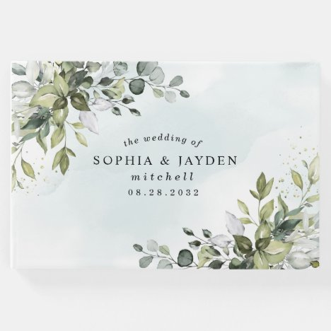 Dusty Blue Eucalyptus Greenery Succulent Wedding Guest Book