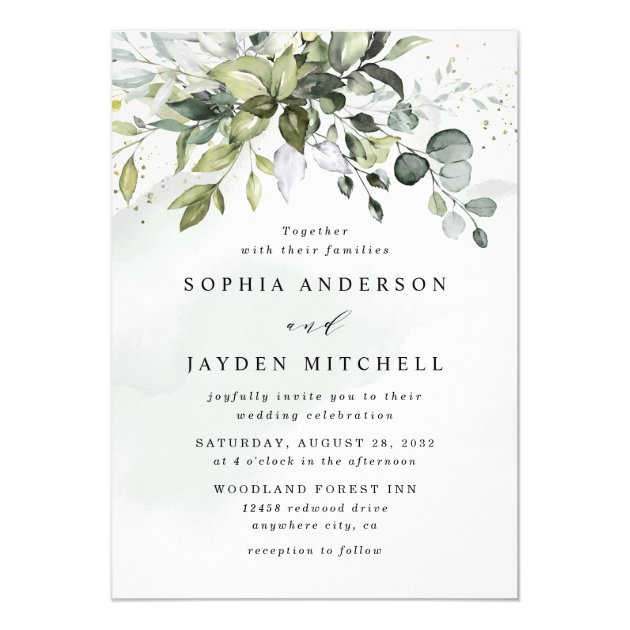 Dusty Blue Eucalyptus Greenery Succulent Wedding Invitation Zazzle Com
