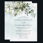 "Dusty Blue Eucalyptus Greenery Succulent Wedding Invitation<br><div class=""desc"">This design is available with two different dusty blue shades.  One option is more dustier than the other and leans towards a gray-dusty blue.  This one that you are currently viewing leans more towards blue for the watercolor splashes.  Compare each on-screen preview for a perfect match when it comes to...</div>"
