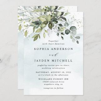 Dusty Blue Eucalyptus Greenery Succulent Wedding Invitation