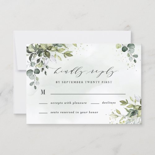 Dusty Blue Eucalyptus Greenery Succulent Wedding RSVP Card