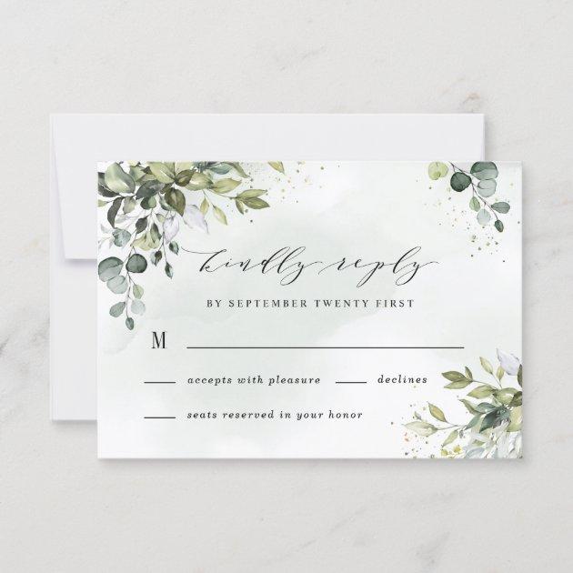 Dusty Blue Eucalyptus Greenery Succulent Wedding Rsvp Card Zazzle Com