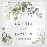 """Dusty Blue Eucalyptus Greenery Succulent Wedding Square Sticker<br><div class=""""desc"""">Design features a bouquet of watercolor greenery,  eucalyptus and a succulent over a dusty blue watercolor splash. Design also features specks of painted (printed) gold and green. View the collection link on this page to see all of the matching items in this beautiful design.</div>"""