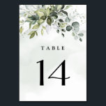 """Dusty Blue Eucalyptus Greenery Succulent Wedding Table Number<br><div class=""""desc"""">Design features a bouquet of watercolor greenery,  eucalyptus and a succulent over a dusty blue watercolor splash. Design also features specks of painted (printed) gold and green. View the collection link on this page to see all of the matching items in this beautiful design.</div>"""