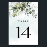 "Dusty Blue Eucalyptus Greenery Succulent Wedding Table Number<br><div class=""desc"">This design is available with two different dusty blue shades.  One option is more dustier than the other and leans towards a gray-dusty blue.  This one that you are currently viewing leans more towards blue for the watercolor splashes.  Compare each on-screen preview for a perfect match when it comes to...</div>"