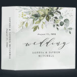 """Dusty Blue Eucalyptus Greenery Wedding Photo Album 3 Ring Binder<br><div class=""""desc"""">Design features a bouquet of watercolor greenery, eucalyptus and a succulent over a dusty blue watercolor splash. Design also features specks of painted (printed) gold and green. View the collection link on this page to see all of the matching items in this beautiful design or see the collection here: https://bit.ly/2tgp2Dh...</div>"""
