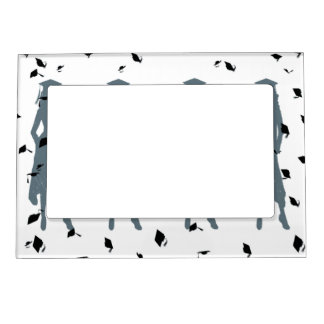 Dusty Blue Female Grad Silhouettes Magnetic Picture Frame