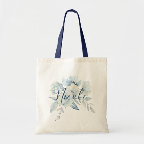 Dusty Blue Floral Bouquet Personalized Tote Bag