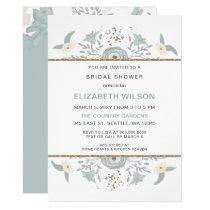 Dusty Blue Floral Bridal Shower Card