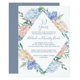 Dusty Blue Floral Diamond 50th Wedding Anniversary Card