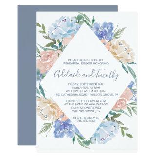 Dusty Blue Floral Diamond Rehearsal Dinner Card