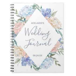 Dusty Blue Floral Diamond Wedding Planner Notebook
