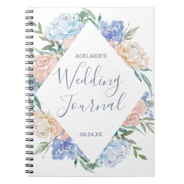 Bride Themed Dusty Blue Floral Diamond Wedding Planner Notebook