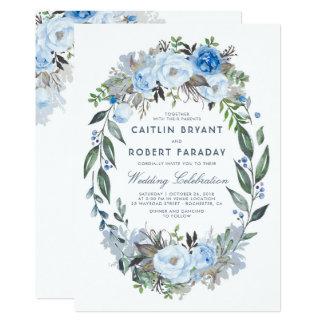 Dusty Blue Floral Elegant Watercolor Wedding Invitation
