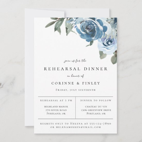 Dusty Blue Floral Rehearsal Dinner Announcement