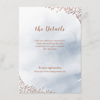 Dusty blue floral rustic wedding insert card