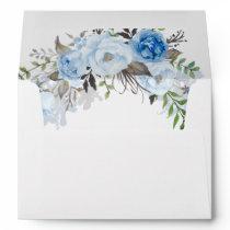 Dusty Blue Floral Watercolor Envelope