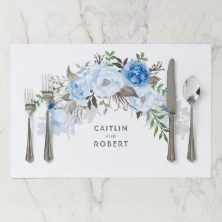 Dusty Blue Floral Watercolor Wedding Paper Placemat