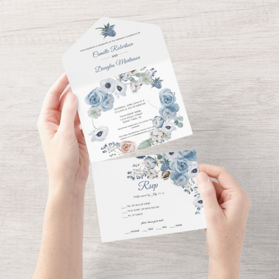 Dusty Blue Floral Wedding   All In One Invitation