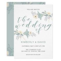 Dusty Blue Floral Wedding Card