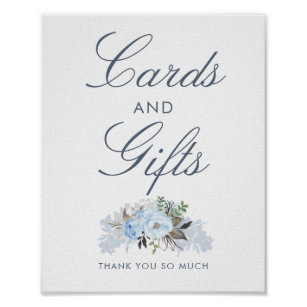 Dusty Blue Floral Wedding Cards and Gifts Sign