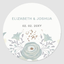 Dusty Blue Floral Wedding Classic Round Sticker