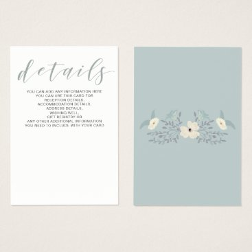 Dusty Blue Floral Wedding details card