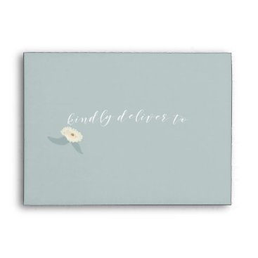 Dusty Blue Floral Wedding Envelope