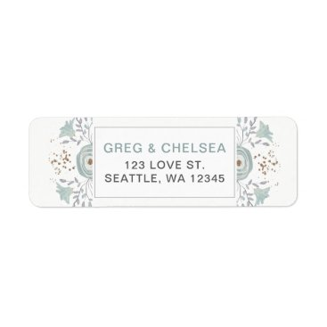Dusty Blue Floral Wedding Label