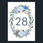 """Dusty Blue Floral Wedding Table Number Cards<br><div class=""""desc"""">Dusty blue flowers Table Number Cards</div>"""