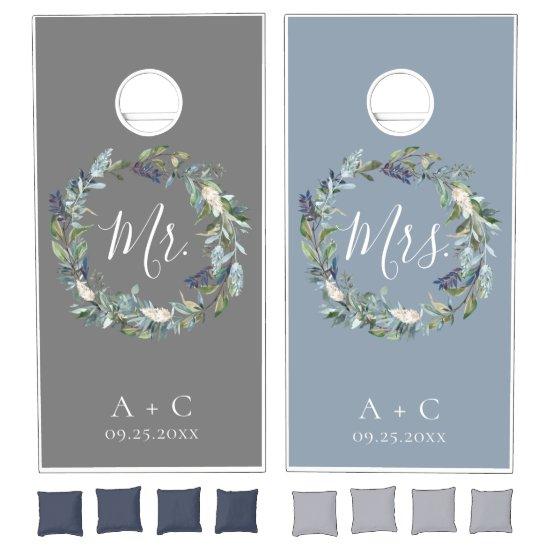 Dusty Blue Floral Wreath Wedding Cornhole Set