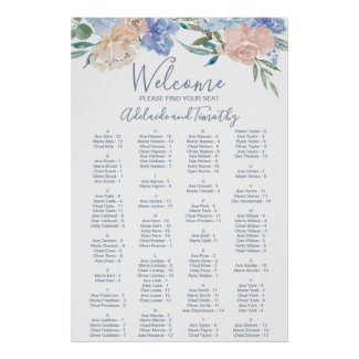 Dusty Blue Florals Alphabetical Seating Chart