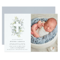 Dusty Blue Florals Baptism Photo Invitation
