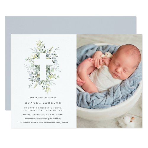 Dusty Blue Florals Baptism Photo Invitation