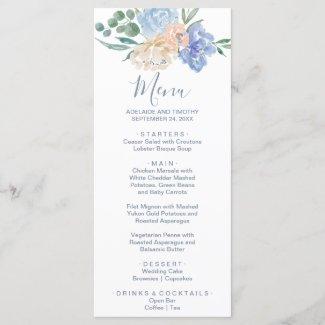 Dusty Blue Florals Dinner Menu Card