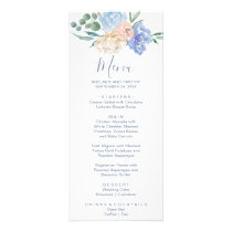 Dusty Blue Florals Dinner Menu Card