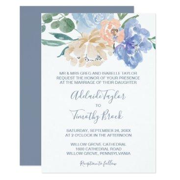 Bride Themed Dusty Blue Florals Formal Wedding Card