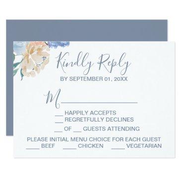Wedding Themed Dusty Blue Florals Menu Choice RSVP Card