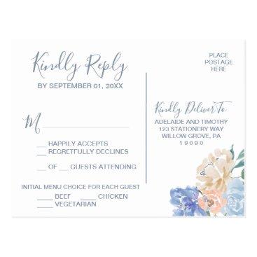Wedding Themed Dusty Blue Florals Menu Choice RSVP Postcard