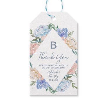 Bride Themed Dusty Blue Florals Monogram Thank You Favor Gift Tags