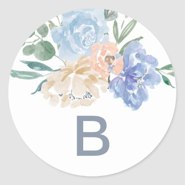 Dusty Blue Florals Monogram Wedding Envelope Seals