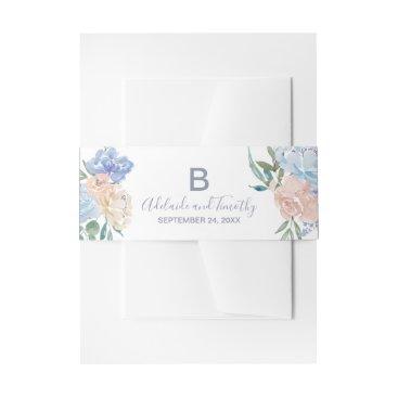 Bride Themed Dusty Blue Florals Monogram Wedding Invitation Belly Band